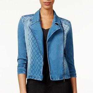 Material Girl Denim Quilted Moto Jacket